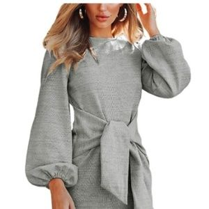 Knitted Long Sleeves Tie Waist Pencil Dress